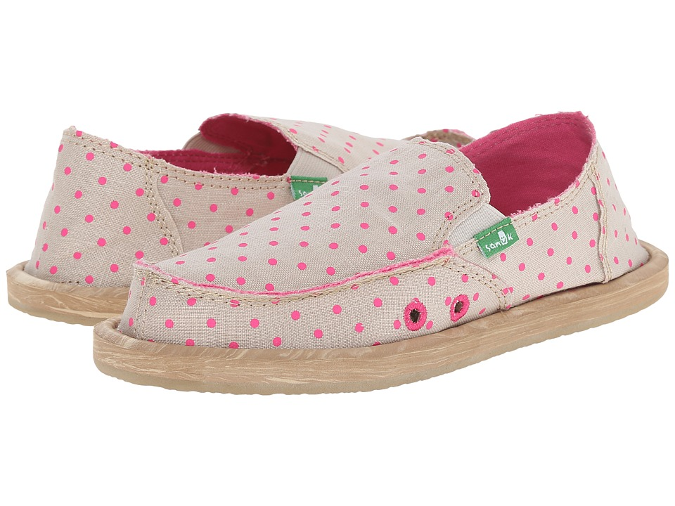 Sanuk Kids Hot Dotty Little Kid/Big Kid Natural/Hot Pink Dots Girls Shoes