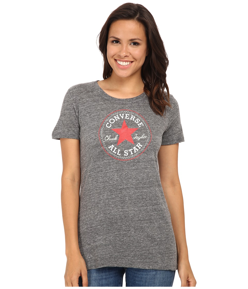 Converse Core 2 Chuck Patch Short Sleeve Crew Tee Color Heather Triblend (Black) Women