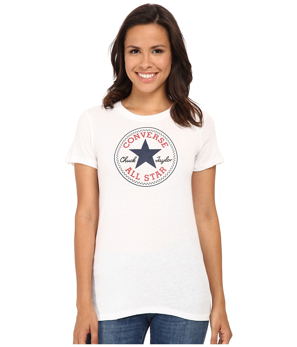 Converse - Core 2 Chuck Patch Short Sleeve Crew Tee Color Heather Triblend (White) Women