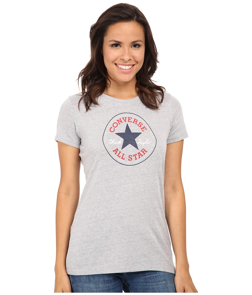 Converse - Core 2 Chuck Patch Short Sleeve Crew Tee Color Heather Triblend (Grey Heather) Women