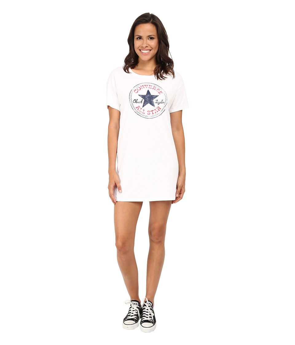 Converse Chuck Patch Short Sleeve Tee Dress White Womens Dress