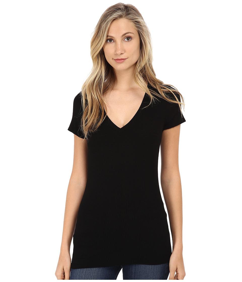 Michael Stars 2X1 Rib Short Sleeve Vee Neck Black Womens Clothing