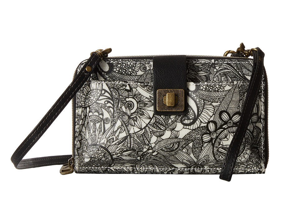 Sakroots - Artist Circle Large Smartphone Crossbody (Black/White Spirit Desert) Clutch Handbags