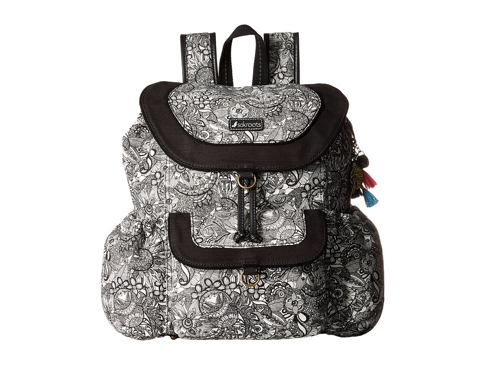 Sakroots - Sakroots Artist Circle Flap Backpack (Black/White Spirit Desert) Backpack Bags