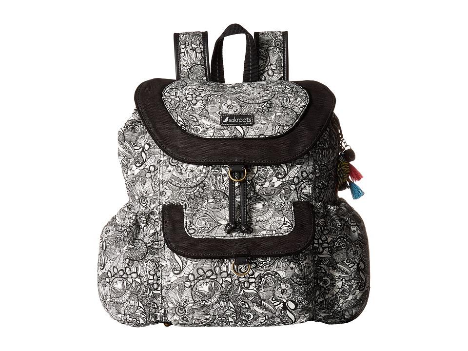 Sakroots - Sakroots Artist Circle Flap Backpack (Black/Wh...