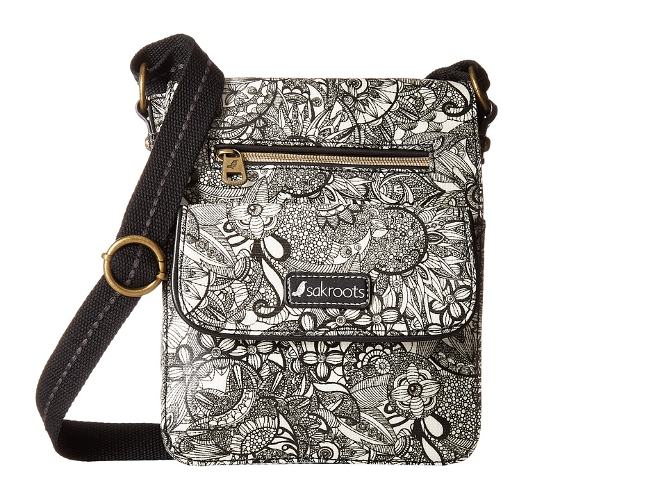 Sakroots - Artist Circle Small Flap Messenger (Black/White Spirit Desert) Cross Body Handbags