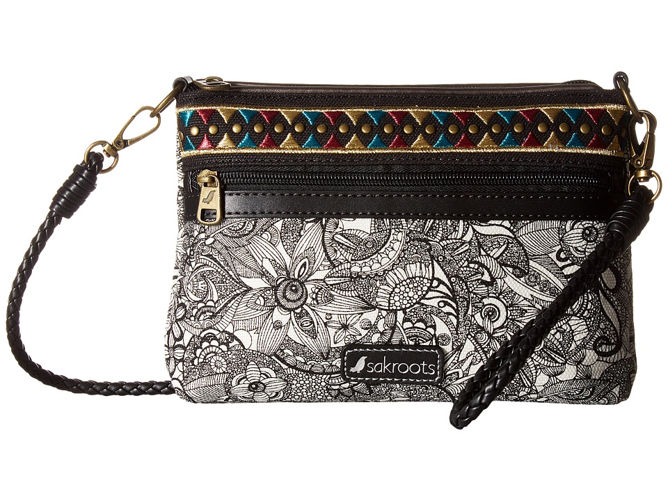 Sakroots - Artist Circle Campus Mini (Black/White Spirit Desert) Cross Body Handbags