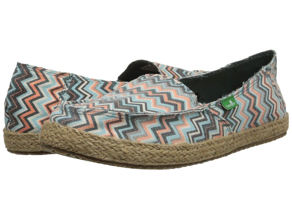 Sanuk Funky Fiona Mallard Chevron Womens Slip on Shoes