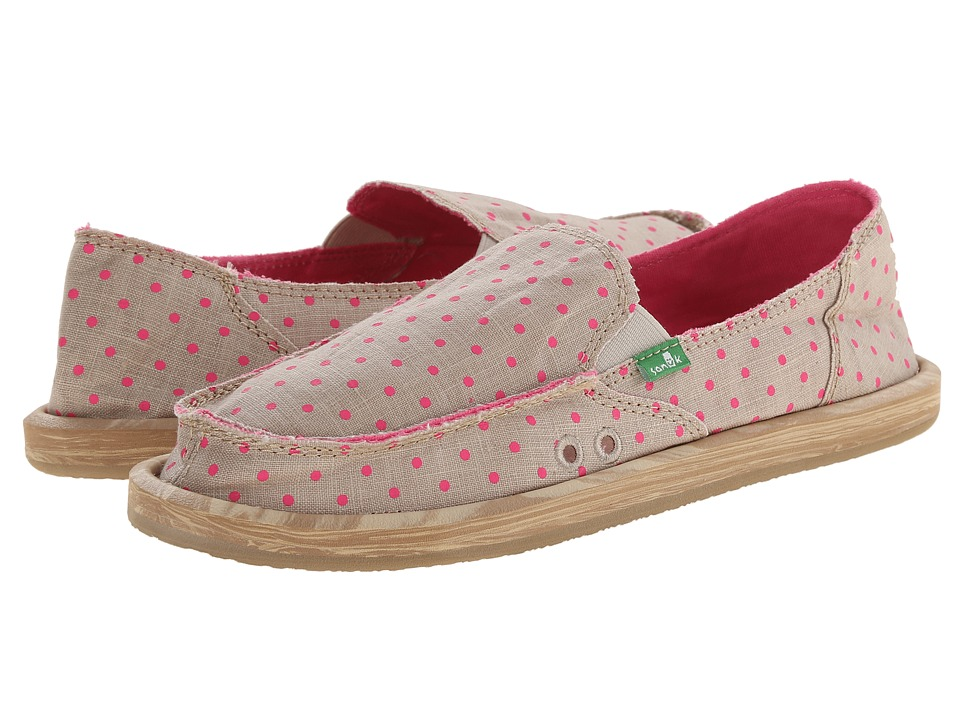 Sanuk - Hot Dotty (Natural/Hot Pink Dots) Women