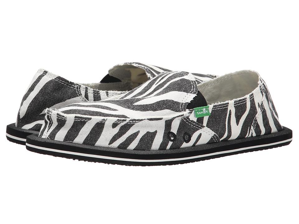 Sanuk - I'm Game (Zebra Black/White) Womens Slip on  Shoes