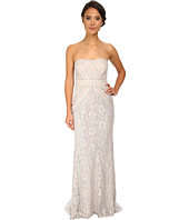 Badgley Mischka - Strapless Metallic Lace Runway Gown