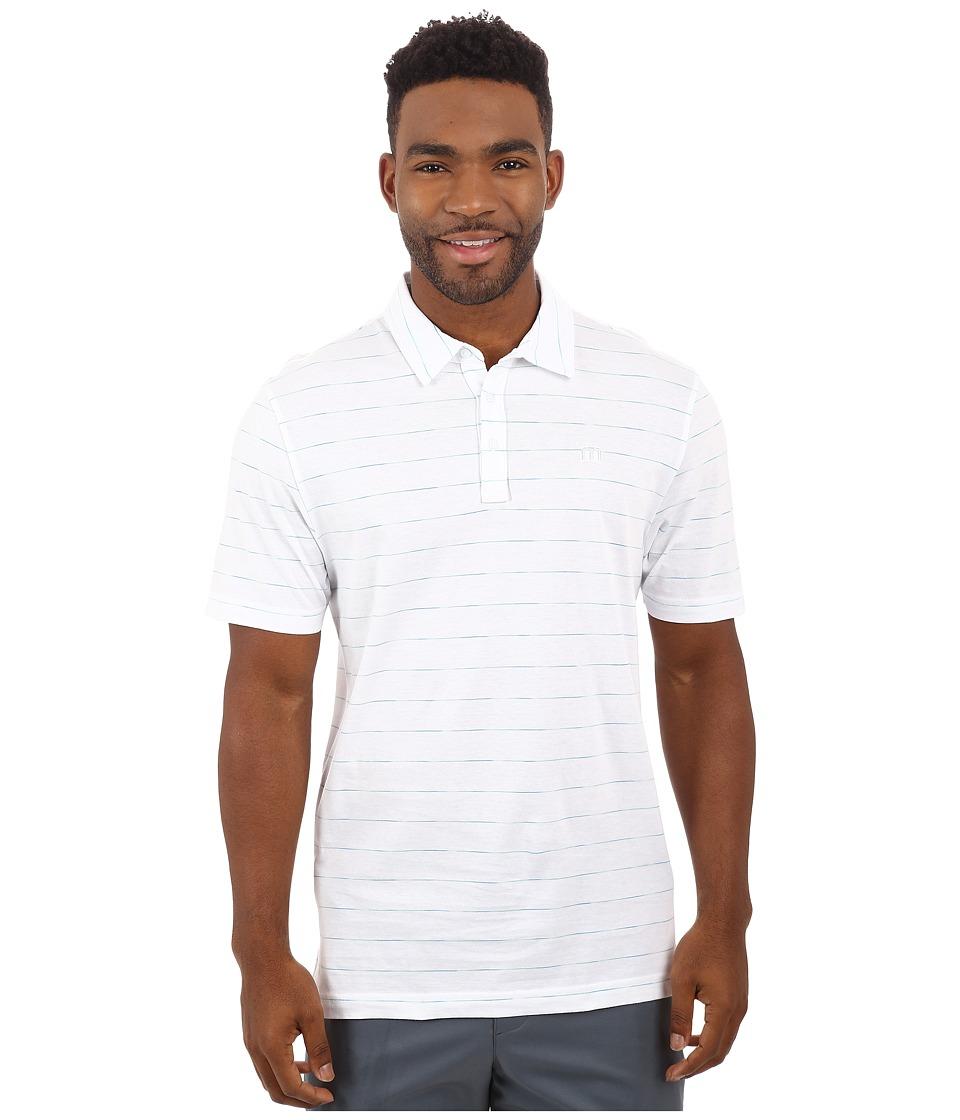 TravisMathew Space Polo White Mens Short Sleeve Knit