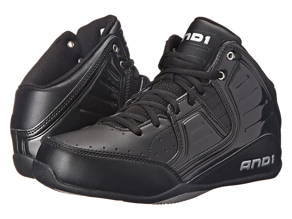 AND1 - Rocket 4 (Black/Black/Silver) Mens Basketball Shoes