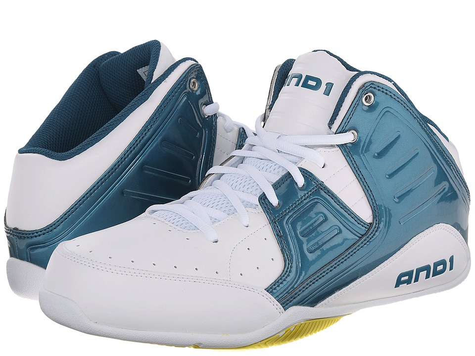 AND1 Rocket 4 Blue Coral/Blazing Yellow/White Mens Basketball Shoes
