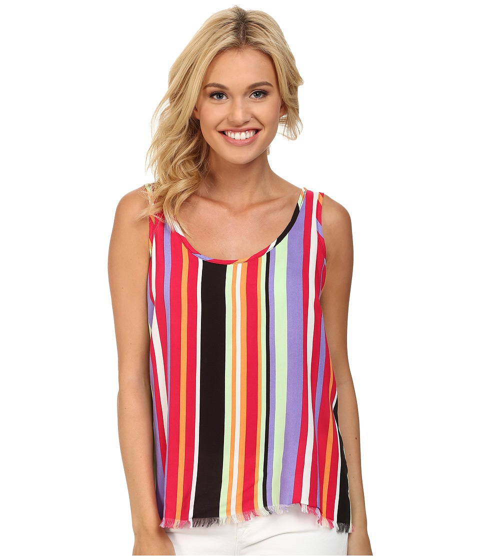Cruel Striped Rayon Tank Top Knotted Assorted Womens Sleeveless