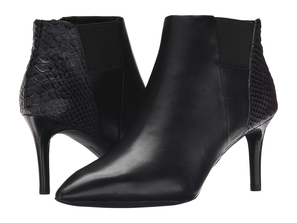 Rockport Total Motion 75mm Pointy Toe Layer Bootie (Black Burn Calf/Snake Emboss) Women