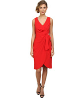 Badgley Mischka - V-Neck Draped Stretch Crepe Cocktail Dress