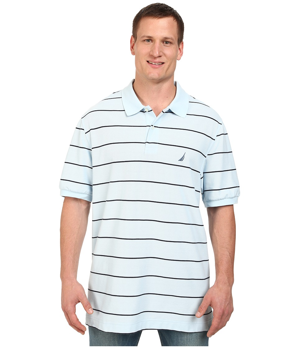 Nautica Big amp Tall Big Tall Short Sleeve New Stripe Polo Shirt Seashell Blue Mens Short Sleeve Knit