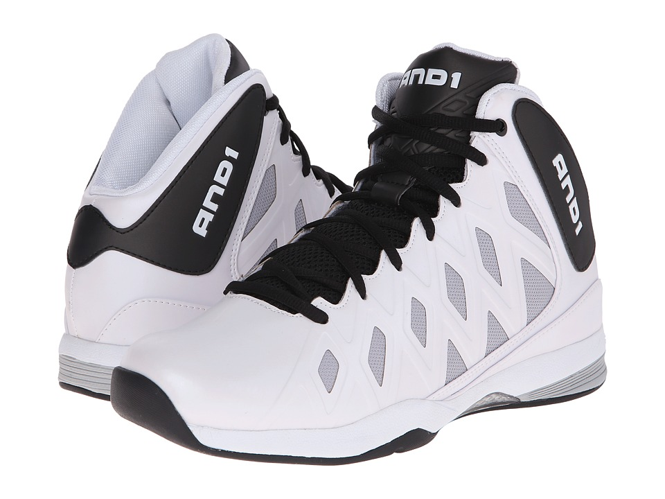 AND1 Unbreakable White/Black/White Mens Basketball Shoes