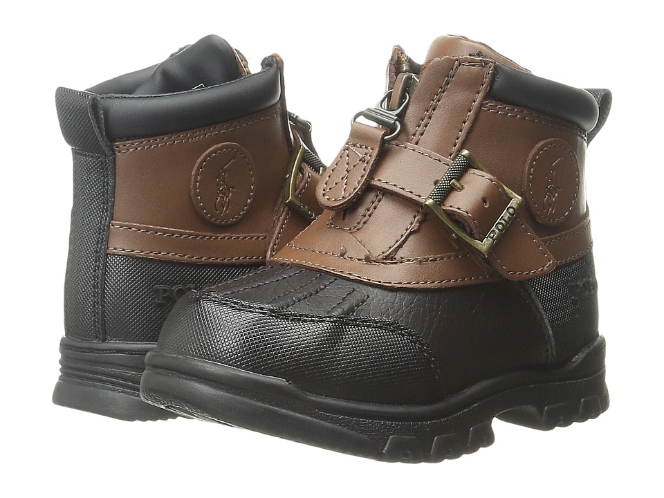 Polo Ralph Lauren Kids Colbey Mid Zip Toddler Chocolate Tumbled/Tan Leather Boys Shoes