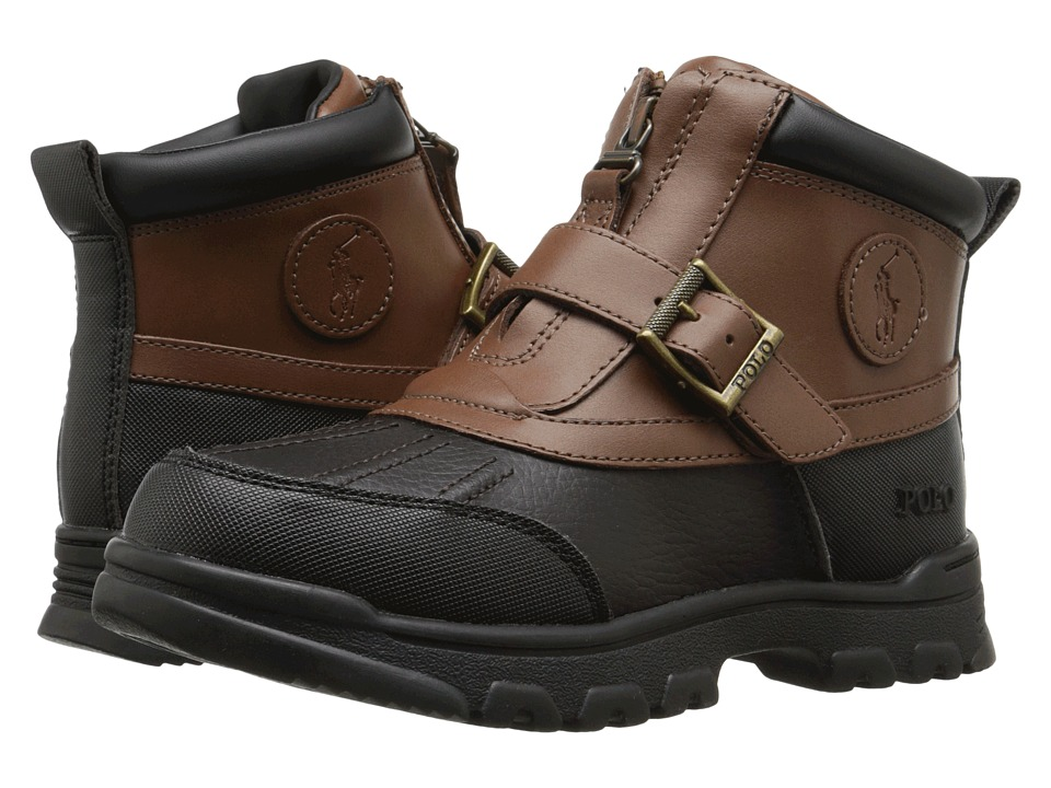 Polo Ralph Lauren Kids Colbey Mid Zip Little Kid Chocolate Tumbled/Tan Leather Boys Shoes