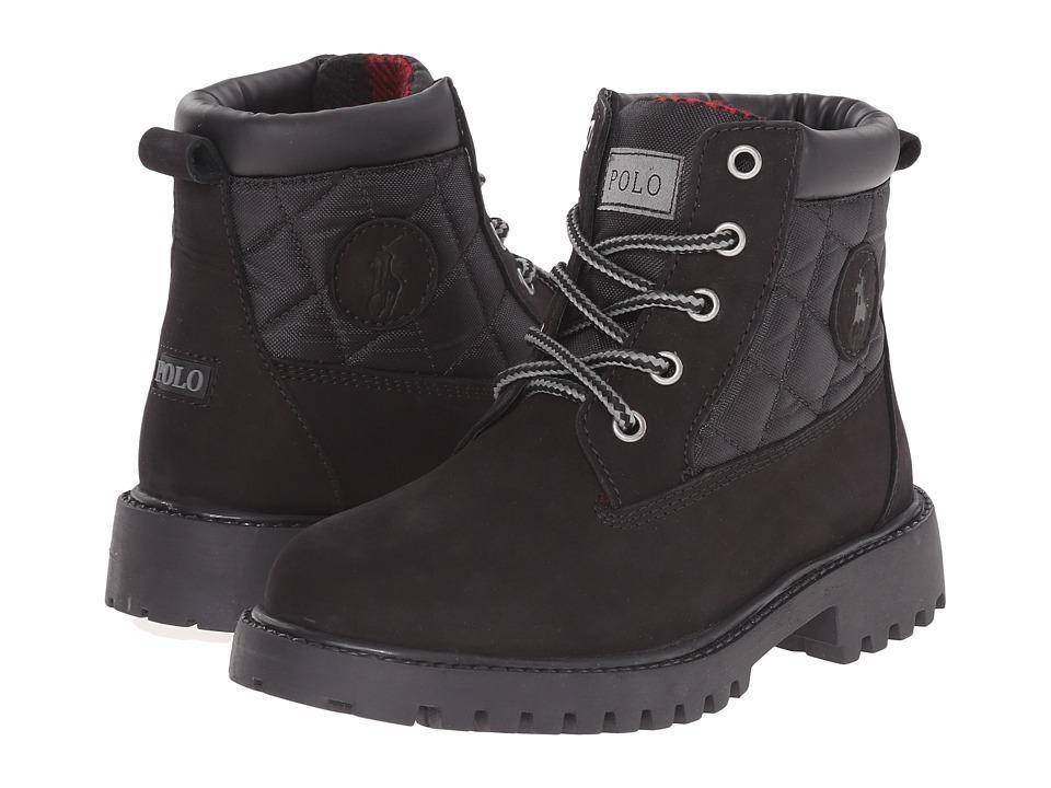 Polo Ralph Lauren Kids Tramble Little Kid Black Nubuck/Quilted Black Ballistic Nylon Boys Shoes