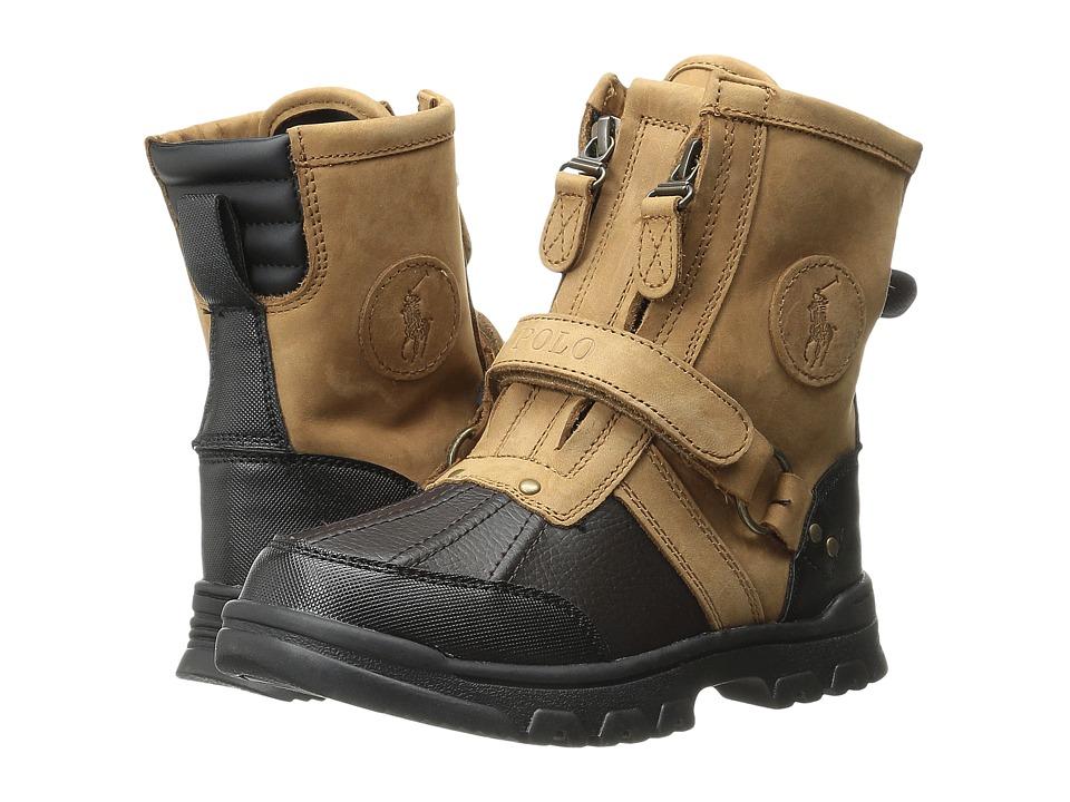 Polo Ralph Lauren Kids Conquest Hi Little Kid Chocolate/Tan Leather Boys Shoes