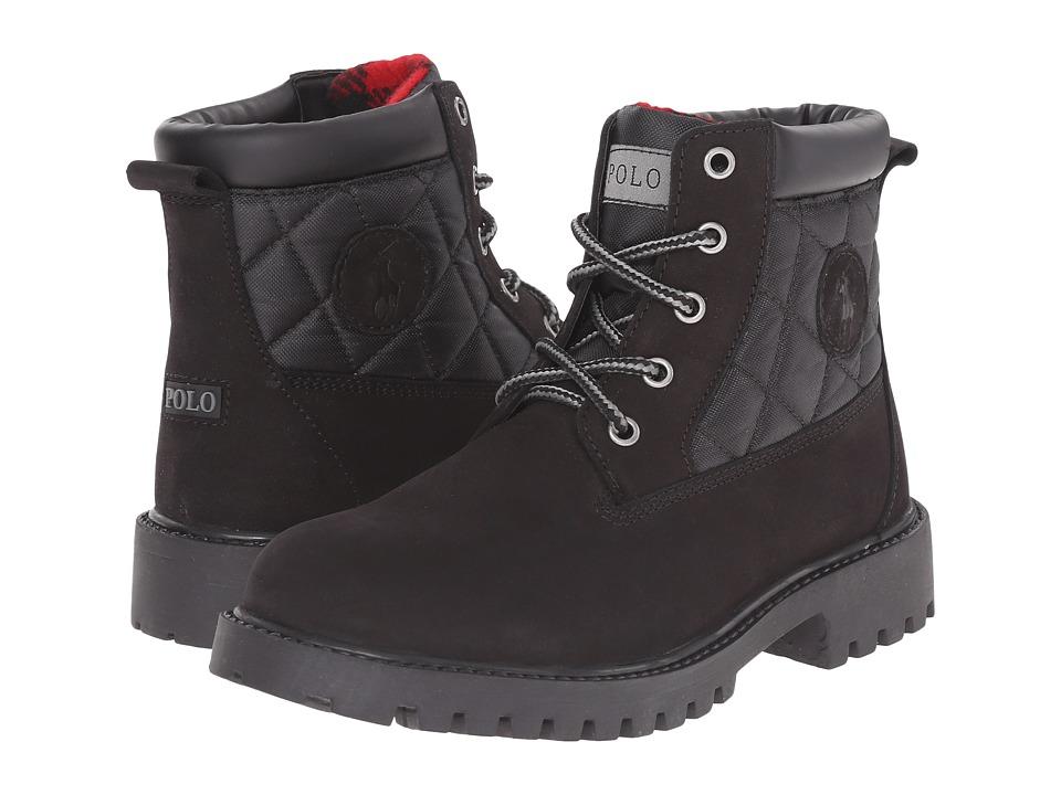 Polo Ralph Lauren Kids Tramble Big Kid Black Nubuck/Quilted Black Ballistic Nylon Boys Shoes