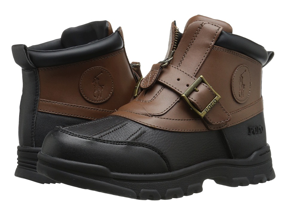 Polo Ralph Lauren Kids Colbey Mid Zip Big Kid Chocolate Tumbled/Tan Leather Boys Shoes