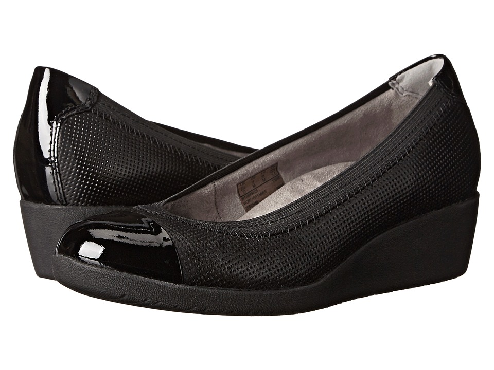 Clarks Petula Sadie Black Leather Womens Wedge Shoes
