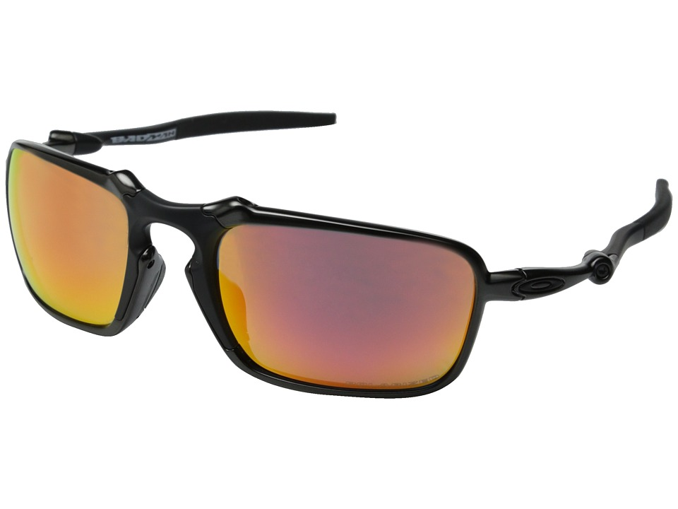 Oakley Badman Dark Carbon/Ruby Iridium Polarized Sport Sunglasses