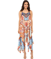 KAS New York - Bliss Embroidered Printed Handkerchief Hem Dress