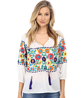 KAS New York - Dallas Embroidered Peasent Blouse