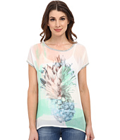 TWO by Vince Camuto - Short Sleeve Pineapple Scape Oversize Hi-Lo Tee