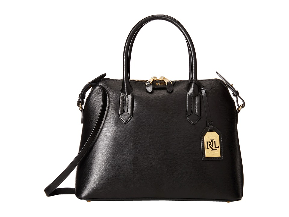 LAUREN Ralph Lauren - Tate Dome Satchel (Black/Black/Gold) Satchel Handbags