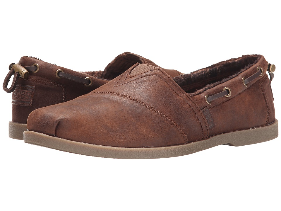 BOBS from SKECHERS - Chill Luxe - Buttoned Up (Brown) Womens Slip on  Shoes