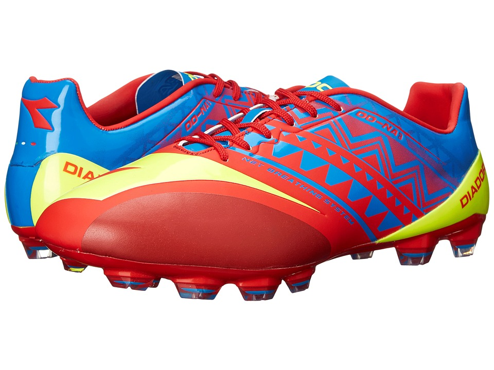 Diadora DD NA3 GLX 14 Brilliant Blue/Fiery Red Mens Soccer Shoes