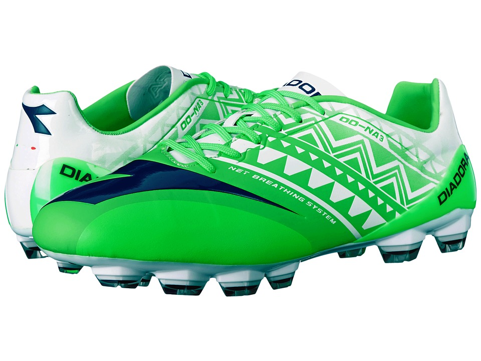 Diadora DD NA3 GLX 14 Fluo Green/White Mens Soccer Shoes