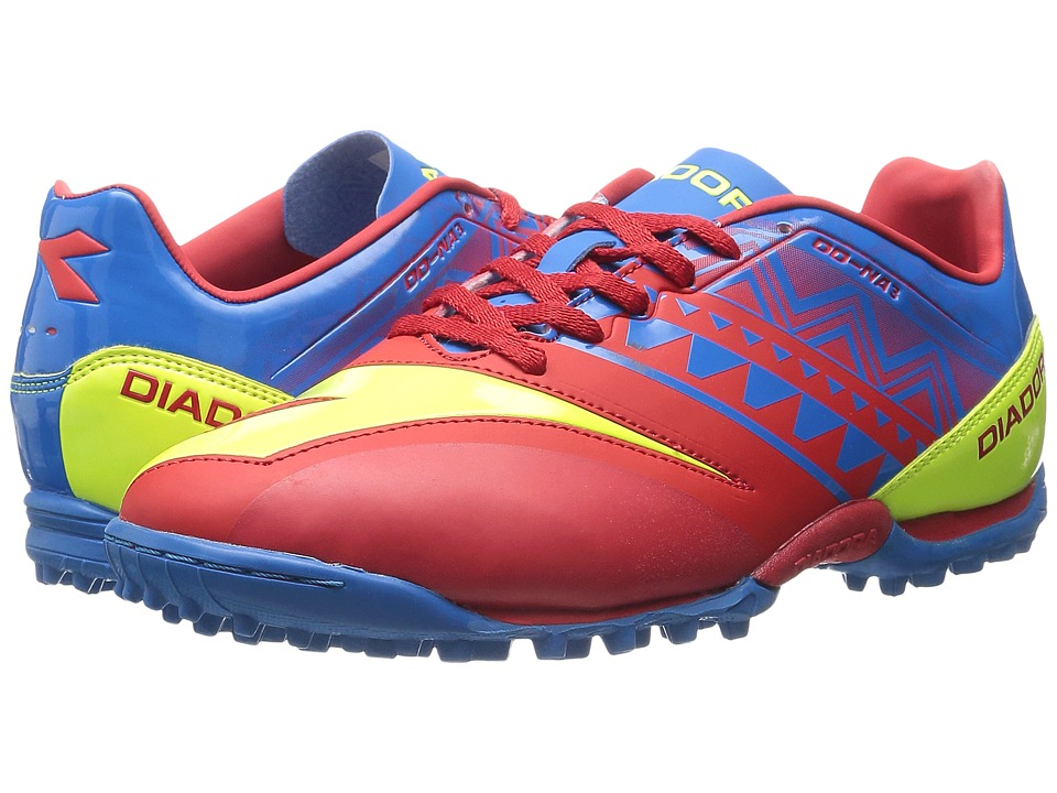 Diadora DD NA3 R Turf Brilliant Blue/Fiery Red Mens Soccer Shoes