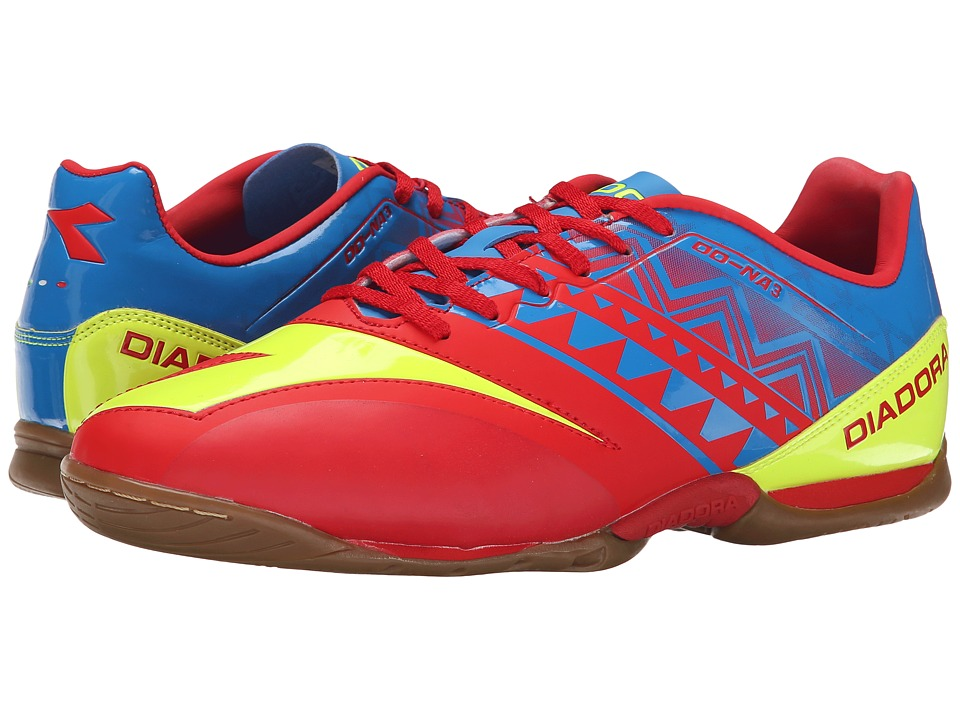 Diadora DD NA3 R Indoor Brilliant Blue/Fiery Red Mens Soccer Shoes