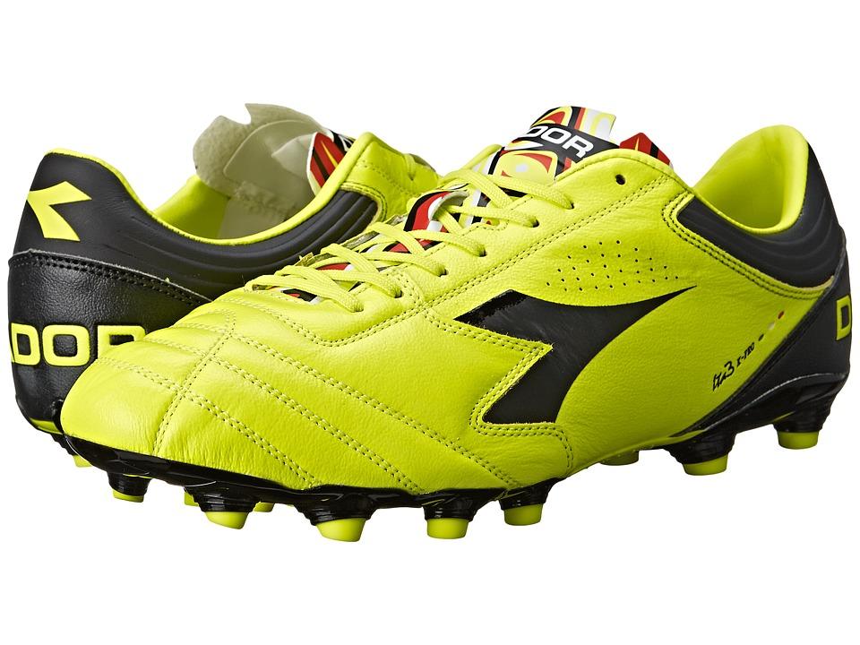 Diadora Italica 3 K PRO MG 14 Yellow Fluo DD/Black Mens Soccer Shoes