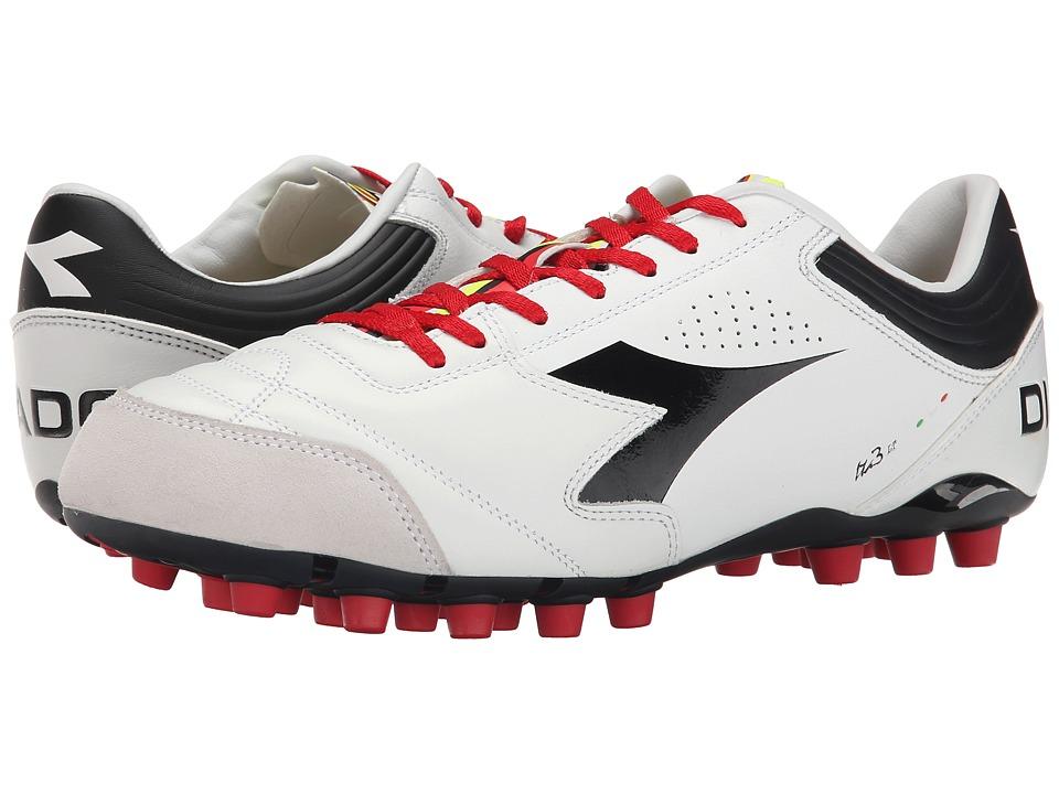 Diadora Italica 3 LT MDPU 25 White/Black Mens Soccer Shoes