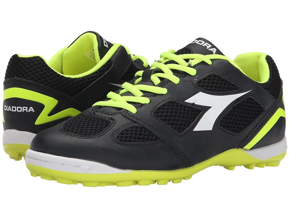 Diadora Quinto V TF Black/White/Fluo Yellow Mens Soccer Shoes