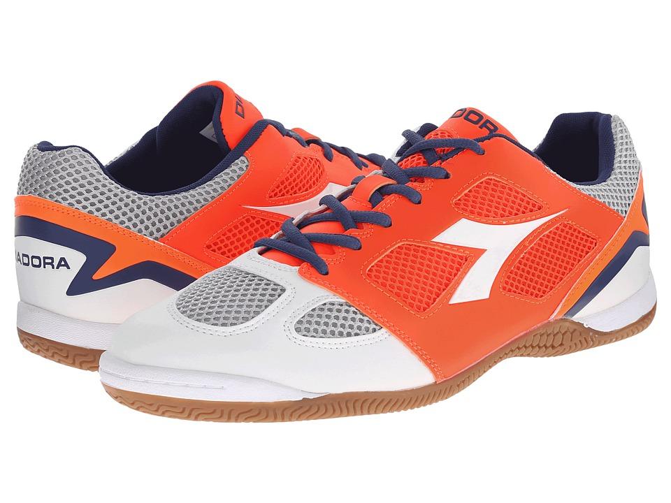 Diadora Quinto V ID White/Fluo Red Mens Soccer Shoes