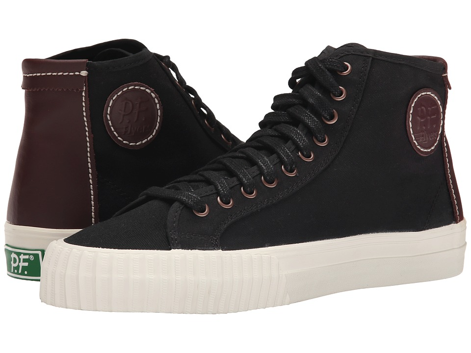 PF Flyers Center Hi Black Twill/Leather Mens Shoes
