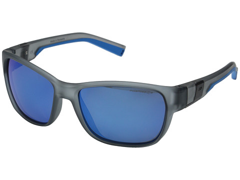 Julbo Eyewear Coast Performance Sunglasses - Matte Transparent Grey/Blue with Polorized 3 Color Flash Lens