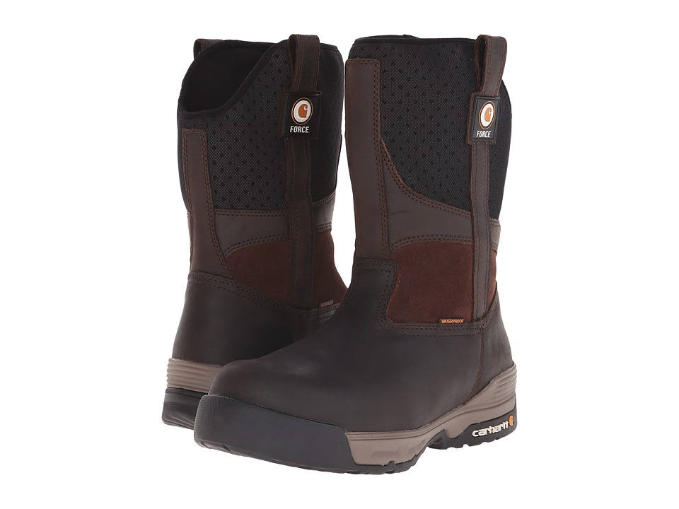 Carhartt 10 Inch Force Brown Waterproof Pull On Brown Coated Leather Mens Waterproof Boots