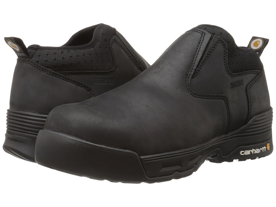 Carhartt 4 Inch Black Waterproof Slip-On (Black Coated Leather) Men