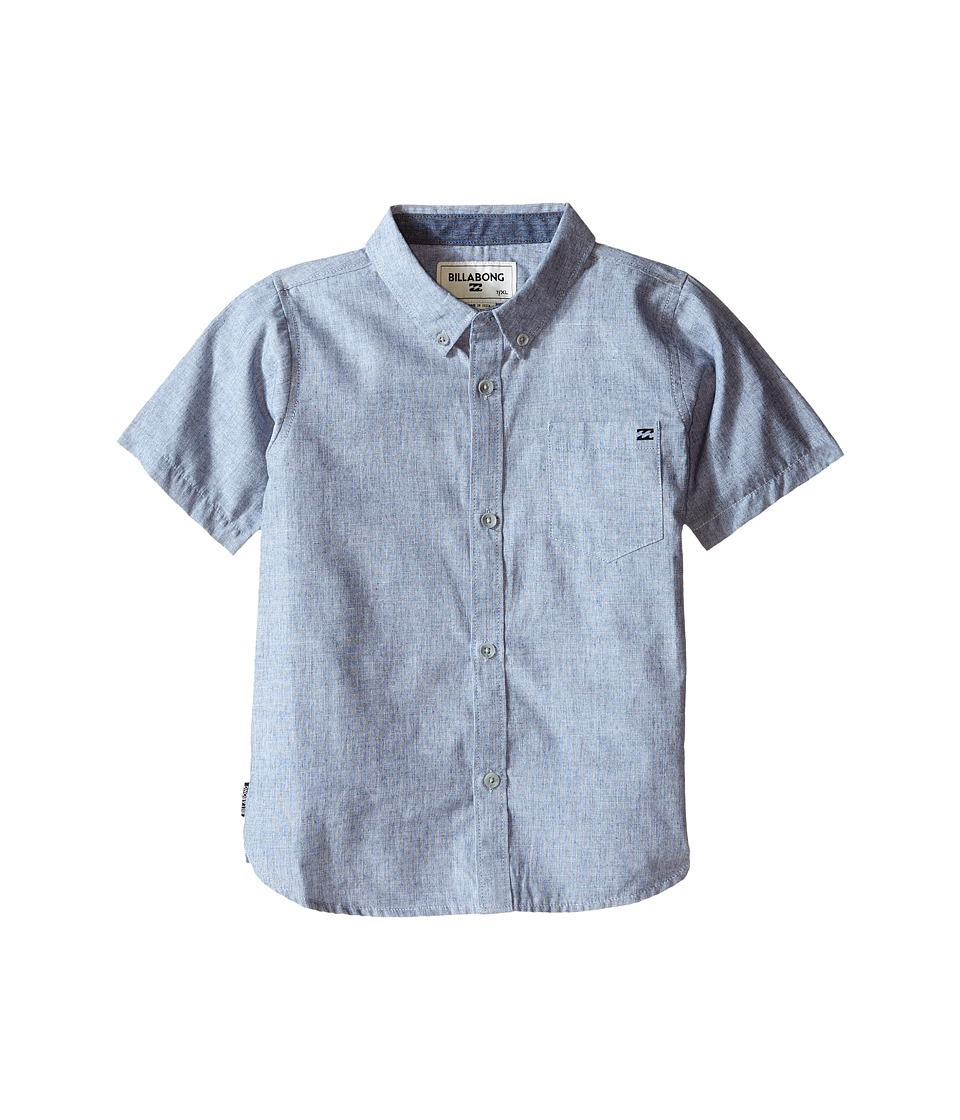 Billabong Kids All Day S/S Woven Toddler/Little Kids Navy Boys Short Sleeve Button Up