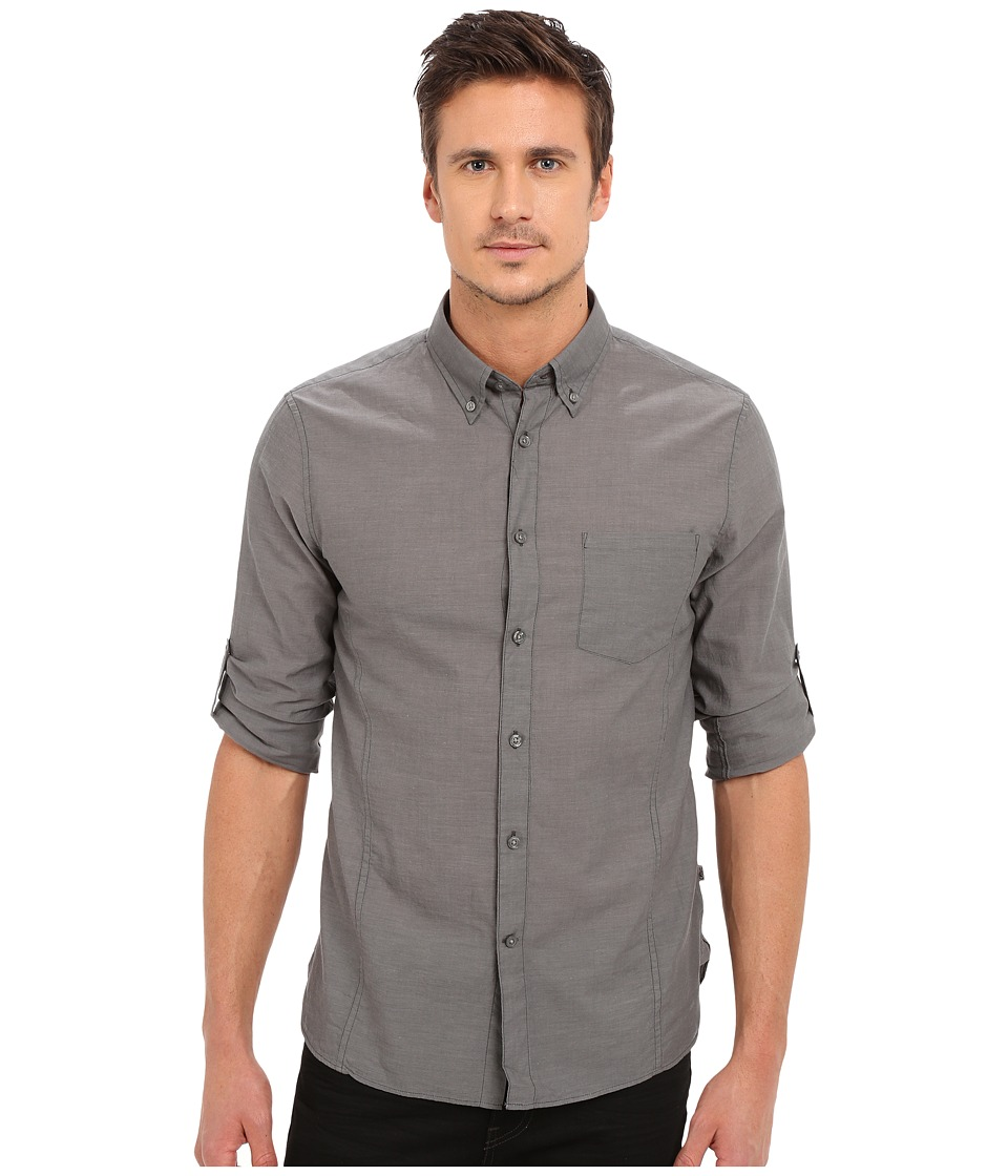 John Varvatos Star U.S.A. - Roll Up Sleeve Shirt w/ Button-Down Collar Single Pocket (Elephant) Mens Long Sleeve Button Up
